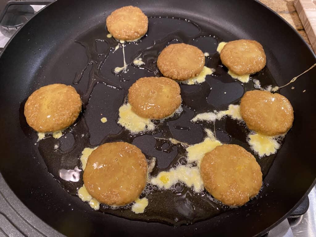 frying the patties