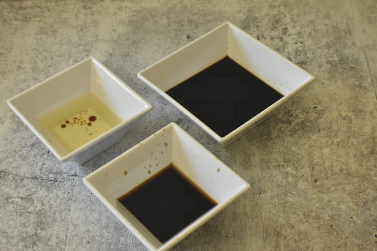 soy sauce, fish sauce, olive oil