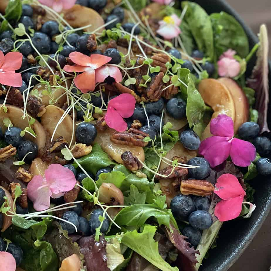 grilled peach & blueberry salad